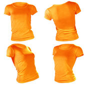 Women's blank orange t-shirt template — Stock Photo