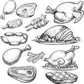 Meat Doodle — Stock Vector