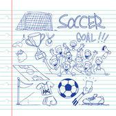 Futbol doodle — Stok Vektör
