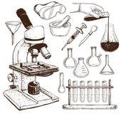 Laboratory Equipment Doodle — Stock Vector