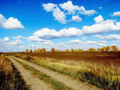The steppe road in the field of the farmer — Stock Photo