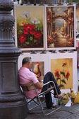 彼の絵画の広場ナヴォーナ, ローマ, イタリアの近く休んでアーティスト — ストック写真