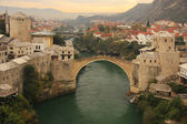Town of Mostar and Stari Most in the evening, Bosnia and Hercegovina — Stock Photo