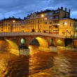 Stock Photo: Latin Bridge on Miljacko river at night, Sarajevo, Bosnia and Herzegovina