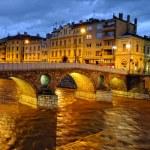Latin Bridge on Miljacko river at night, Sarajevo, Bosnia and Herzegovina — Stock Photo