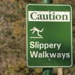 Stock Photo: Slippery Walkways sign