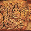 Decorative wall carvings, Banteay Srey temple, Angkor area, Siem Reap, Cambodia - Stock Photo