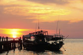 Silhouette of traditional fishing boats at sunrise, Koh Rong isl — Stock Photo