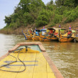 Colorful boats on Mekong river, Kratie, Cambodia — Stockfoto