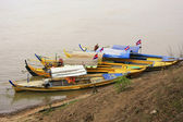 Colorful boats on Mekong river, Kratie, Cambodia — Stock Photo