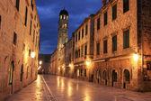 Old town at night, Dubrovnik, Croatia — Stock Photo