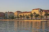 Split waterfront at sunset, Croatia — Stock Photo