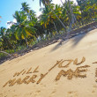 Words Will you marry me on a beach — Foto de Stock