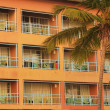 Stock Photo: Building with balconies and palm tree