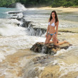 Young woman in bikini sitting on rocks at Rincon beach, Samana p — Stock Photo #25901765
