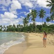 Young woman in bikini walking at Rincon beach, Samana peninsula — Stock Photo