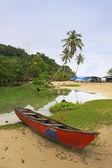 Bateau de pêche de rivière d'eau douce, plage de rincon, péninsule de samana — Photo