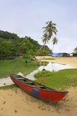 Fishing boat by freshwater river, Rincon beach, Samana Peninsula — Stock Photo