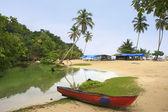 Barco de pesca de agua dulce, playa rincón, península de samaná — Foto de Stock