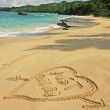 "Stock Photo: ""Just married"" written in sand on a beach"