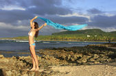 Young woman in bikini standing at Las Galeras beach, Samana peni — Stock Photo