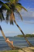 Mujer joven en bikini imposición palmera que se inclina, las galeras b — Foto de Stock