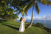 Brudgummen och bruden står vid palm tree — Stockfoto