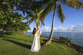 Novio y la novia de pie por palmera — Foto de Stock