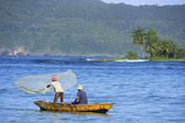 Local men fishing near Las Galeras, Samana peninsula — Stock Photo