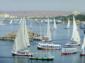 Felucca boats sailing on the Nile river, Aswan — Stock Photo