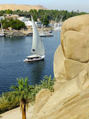 Felucca boat sailing on the Nile river, Aswan — Stock Photo