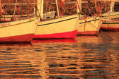 Felucca boats at the harbor at sunset, Luxor — Stock Photo