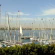 Stock Photo: Sailboats at Luxor riverbank, Egypt