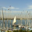 Sailboats at Luxor riverbank, Egypt — Stock Photo