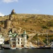 Genoese fortress Cembalo and Balaklava town, Crimea — Stock Photo