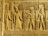 Ancient hieroglyphics on the wall of Kom Ombo temple — Stock Photo
