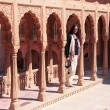 Stock Photo: Young womstanding on courtyard terrace, Junagarh fort, Bikane