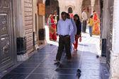 Pilgrims going through main gate of Karni Mata Temple, Deshnok, — Stock Photo