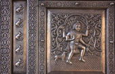 Detail of silver door, Karni Mata Temple, Deshnok, India — Stock Photo