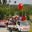 People celebrate arriving Fuifui Moimoi on Vavau island, Tonga — Stock Photo #39283773
