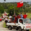 People celebrate arriving Fuifui Moimoi on Vavau island, Tonga — Stock Photo #39283901