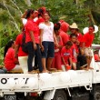 People celebrate arriving Fuifui Moimoi on Vavau island, Tonga — Stock Photo #39286745
