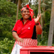 Womcelebrate arriving Fuifui Moimoi on Vavau island, Tonga — Stock Photo #39287447