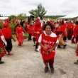 People celebrate arriving Fuifui Moimoi on Vavau island, Tonga — Stock Photo #39293779