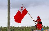 Tongan man celebrate arriving Fuifui Moimoi on Vavau island, Ton — Foto de Stock
