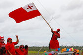 Tongan man celebrate arriving Fuifui Moimoi on Vavau island, Ton — Stock Photo
