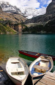 Wooden boats at Lake O'Hara, Yoho National Park, Canada — Stock Photo