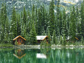 Wooden cabins at Lake O'Hara, Yoho National Park, Canada — Foto Stock
