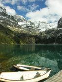 Wooden boats at Lake O'Hara, Yoho National Park, Canada — Stock Photo