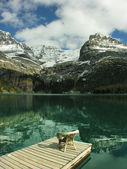 Chair on a wooden pier, Lake O'Hara, Yoho National Park, Canada — Stock Photo
